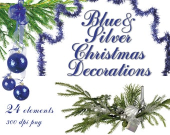 Digital Blue Silver Christmas clip art, 16 elements, new year Digital Collage, printable Digital Scrapbooking, Instant Download, clip 32