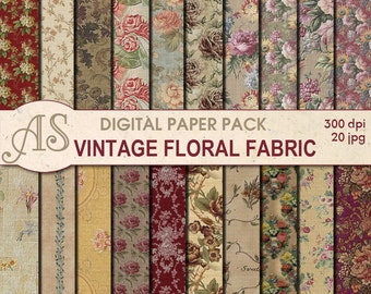 Digital Vintage Floral Fabric Paper Pack, 20 printable Digital Scrapbooking papers, Fabric Collage, Decoupage, Instant Download, set119