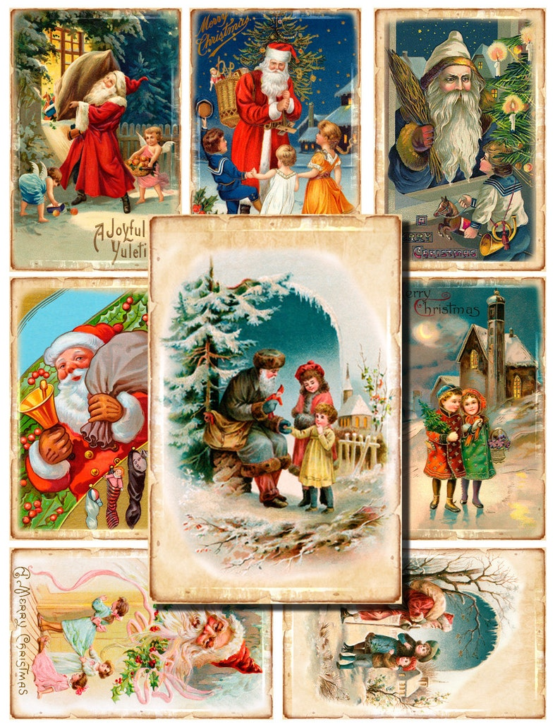40 digital vintage christmas cards gift tags new year hang
