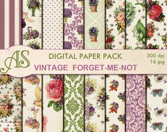 Digital Vintage Shabby Chic forget-me-not  Paper Pack, 16 printable Digital Scrapbooking papers, distress papers, Instant Download, set 284