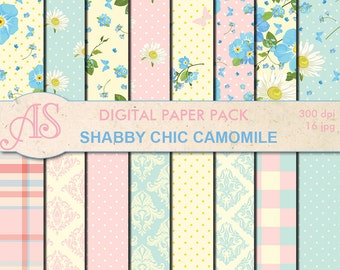 Digital Shabby Chic Camomile Paper Pack, 16 printable Digital Scrapbooking papers, flowers Digital Collage, Instant Download, set 177