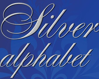 Digital Silver Alphabet, Digital Lettering, Printable Lettering, Digital Download, #52