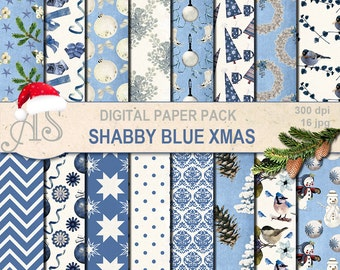 Digital Shabby Chic blue Christmas Pack, 16 printable Digital Scrapbooking papers, vintage new year, decoupage, Instant Download, set 252