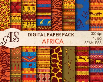 Digital African Ethnic Paper Pack, 16 printable Seamless Digital Scrapbooking papers, tribal Digital Collage, Instant Download, set 13