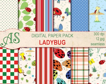 Digital Ladybugs Paper Pack, 12 printable Seamless scrapbooking papers, ladybug Digital Collage, kids pattern, Instant Download, set 293