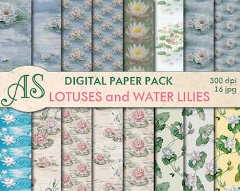 Digital Lotuses and Water Lilies Paper Pack, 16 printable Digital Scrapbooking papers, floral Digital Collage, Instant Download, set 5