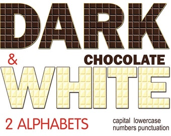 Digital Dark&White Chocolate Alphabets for scrapbooking, Food Decor, sweet tasty clip art, Printable Lettering, Instant Download, #67