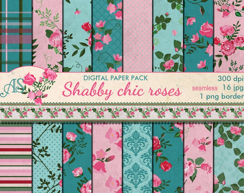 Tremendous Digital Shabby Chic Pink Roses Seamless Paper Pack 16 Printable Digital Scrapbooking Papers Retro Roses Instant Download Set 378 Beutiful Home Inspiration Xortanetmahrainfo