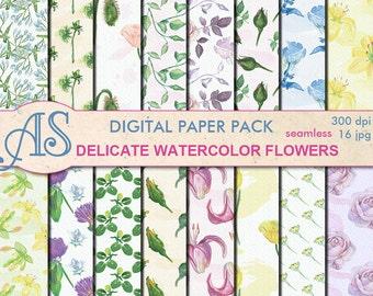 Digital Delicate Watercolor Flowers Seamless Paper Pack, 16 printable Digital Scrapbooking papers, Digital Collage, Instant Download, set155