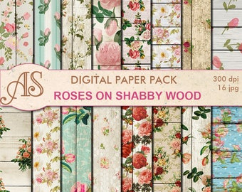 Digital Shabby Roses on Wood Paper Pack, 16 printable Digital Scrapbooking papers, retro roses Digital Collage, Instant Download, set 271