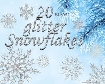 Digital 20  Silver Glitter Snowflakes, 20, snowflakes clipart, winter christmas clip art, new year Digital Collage, Instant Download