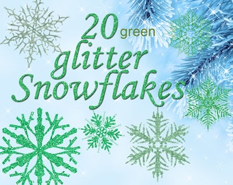 Digital 20  Green Glitter Snowflakes, 20, snowflakes clipart, winter christmas clip art, new year Digital Collage, Instant Download