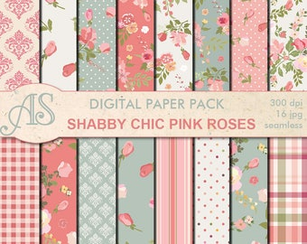 Digital Shabby Chic Pink Roses seamless Paper Pack, 16 printable Scrapbooking papers, retro roses Digital Collage, Instant Download, set 127