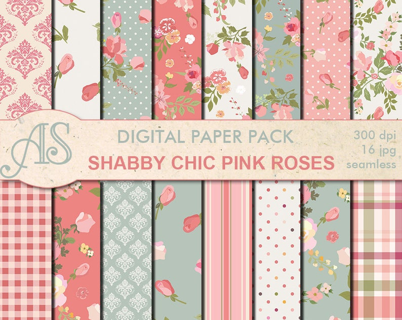 Prime Digital Shabby Chic Pink Roses Seamless Paper Pack 16 Printable Scrapbooking Papers Retro Roses Digital Collage Instant Download Set 127 Beutiful Home Inspiration Xortanetmahrainfo