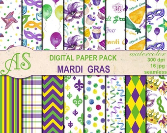 Digital Watercolor Mardi Gras Seamless Pack, 16 printable Digital Scrapbooking papers, Carnival Digital Collage, Instant Download, set 359
