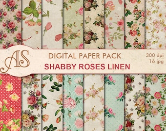 Digital Shabby Roses Linen Paper Pack, 16 printable Digital Scrapbooking papers, retro roses Digital Collage, Instant Download, set 273