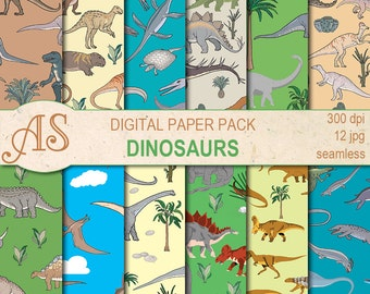 Digital Dinosaurs Paper Pack, 12 printable Seamless scrapbooking papers, dino Digital Collage, kids pattern, Instant Download, set 294