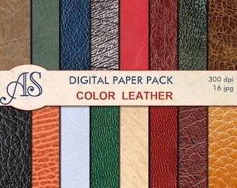 Digital Color Leather Paper Pack, 16 printable Digital Scrapbooking papers, leather Digital Collage, Instant Download, set 152