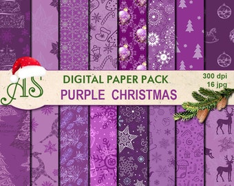 Digital Purple Christmas Paper Pack, 16 printable Digital Scrapbooking papers, Digital Collage, new year clipart, Instant Download, set 224