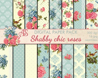 Digital Shabby Chic Pink Roses Seamless Paper Pack, 16 printable Scrapbooking papers, retro roses Digital Collage, Instant Download, set 212