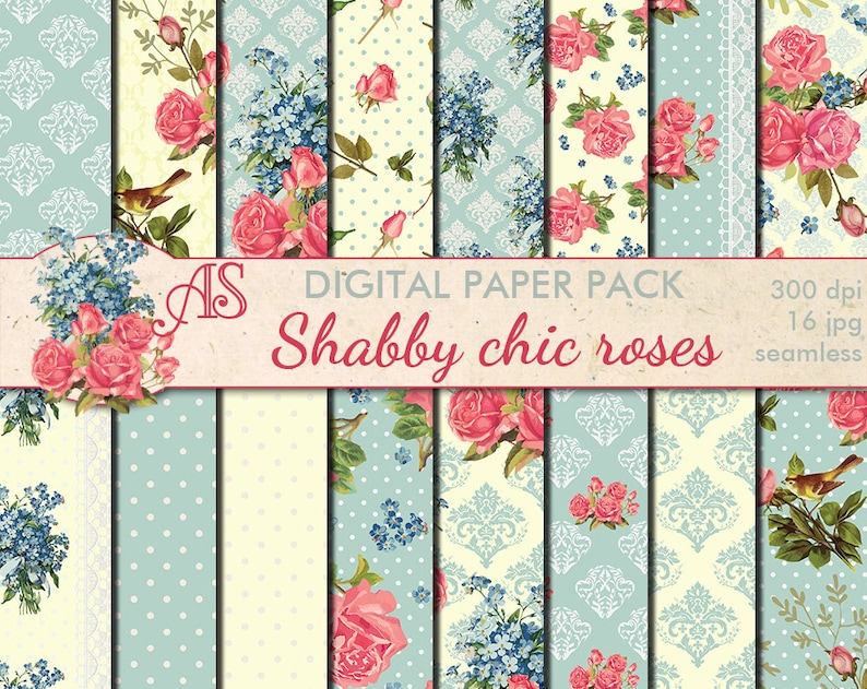 Surprising Digital Shabby Chic Pink Roses Seamless Paper Pack 16 Printable Scrapbooking Papers Retro Roses Digital Collage Instant Download Set 212 Beutiful Home Inspiration Xortanetmahrainfo