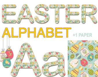 Digital Easter Vintage Alphabet for scrapbooking, gift, Papercrafts, Decor, Fabric, Pillow, Tea Towel, Instant Download, font, printable #8
