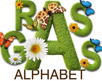 Digital Spring Grass Alphabet for scrapbooking, Papercrafts, Decor, Fabric, Pillow, grass clipart, Printable Lettering,Instant Download, #24