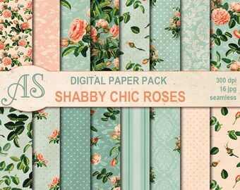 Digital Shabby Chic Roses in Teal Paper Pack, 16 printable Digital Seamless Scrapbooking papers, retro roses, Instant Download, set 335