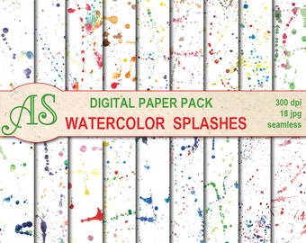 Digital Watercolor Splashes Seamless Paper Pack, 18 printable Digital Scrapbooking papers, abstract Collage, Instant Download, set 342