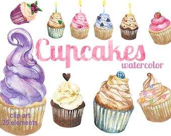 Digital Watercolor Cupcakes Clipart, printable Digital Scrapbooking, Food Clip art, Digital Collage, Instant Download, clip 77
