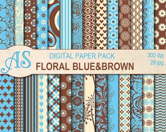 Digital Floral Blue and Brown Paper Pack, 28 printable Digital Scrapbooking papers, Digital Collage, clip art, Instant Download, set 316