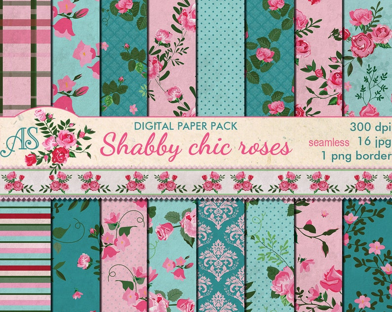 Wondrous Digital Shabby Chic Pink Roses Seamless Paper Pack 16 Printable Digital Scrapbooking Papers Retro Roses Instant Download Set 379 Beutiful Home Inspiration Xortanetmahrainfo