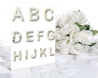Digital White Roses Alphabet, Wedding Alphabet, Floral Alphabet, Wedding Digital Lettering, Printable Lettering, Instant Download, #29