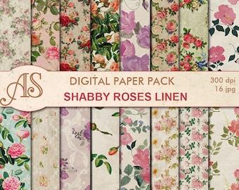 Digital Shabby Roses Linen Paper Pack, 16 printable Digital Scrapbooking papers, retro roses Digital Collage, Instant Download, set 274