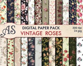 Digital Vintage Roses Paper Pack, 24 printable Digital Scrapbooking papers, Floral Digital Collage, roses clip art, Instant Download, set 31