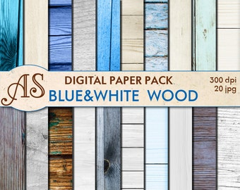 Digital Blue White Wood Paper Pack, 20 printable Digital Scrapbooking papers, Wooden Collage, Decoupage papers, Instant Download, set 93