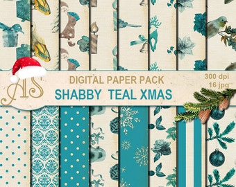 Digital Shabby Chic Christmas Pack, 16 printable Digital Scrapbooking papers, new year Digital Collage, decoupage, Instant Download, set 249