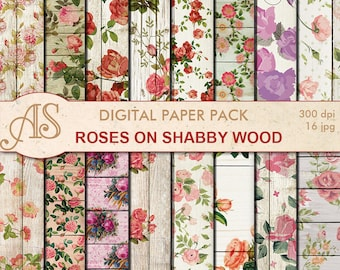 Digital Shabby Roses on Wood Paper Pack, 16 printable Digital Scrapbooking papers, retro roses Digital Collage, Instant Download, set 268