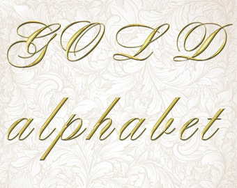 Digital Gold Alphabet, Digital Lettering, Printable Lettering, Digital Download, #11
