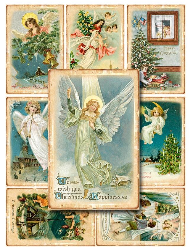 40 digitale Vintage Weihnachtsengel-Karten Geschenkanhänger | Etsy