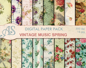 Digital Vintage Music Spring Paper Pack, 16 printable Digital Scrapbooking papers, shabby chic Digital Collage, Instant Download, set 288