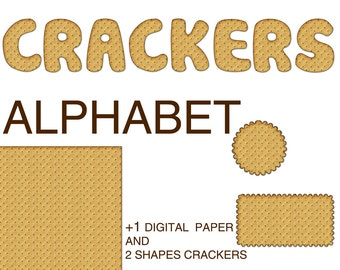 Digital Crackers Alphabet for scrapbooking, gift, Papercrafts, Food Decor, Pillow, Tea Towel, Printable Lettering, Instant Download #5