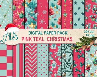 Digital Pink Teal Christmas Pack, 16 printable Digital Scrapbooking papers, new year Digital Collage, decoupage, Instant Download, set 255