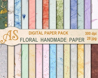 Digital  Floral Handmade Paper Pack, 28 printable Digital Scrapbooking papers, craft papers, Instant Download, set 285