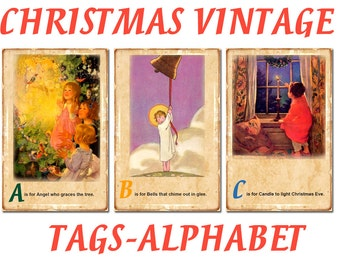 Digital Vintage Christmas cards Alphabet, Gift tags, xmas tags, Christmas label, Printable tags, xmas Digital Collage, Instant Download, #27