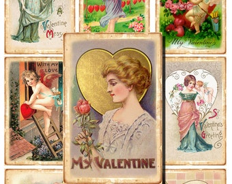 40 Digital Vintage Valentine Day cards, Gift tags, love Hang tags, valentine label, Printable tags, Cupid Digital Collage, Instant Download
