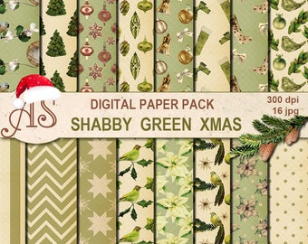 Digital Shabby Chic Christmas Pack, 16 printable Digital Scrapbooking papers, new year Digital Collage, decoupage, Instant Download, set 254
