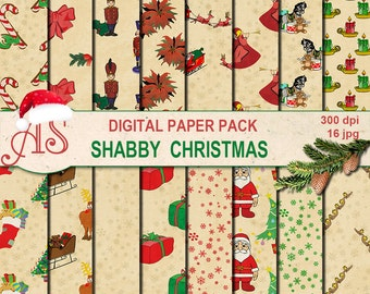 Digital Shabby Christmas Paper Pack, 16 printable Digital Scrapbooking papers, Digital Collage, retro new year, Instant Download, set 260