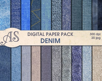 Digital Denim Paper Pack, 20 printable Digital Scrapbooking papers, jeans Digital Collage, fabric clip art, Instant Download, set 54