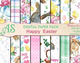 Digital Happy Easter Paper Pack, 16 printable Digital Scrapbooking papers, watercolor Easter Digital Collage, Instant Download, set 262